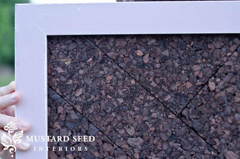 herringbone cork board in a frame
