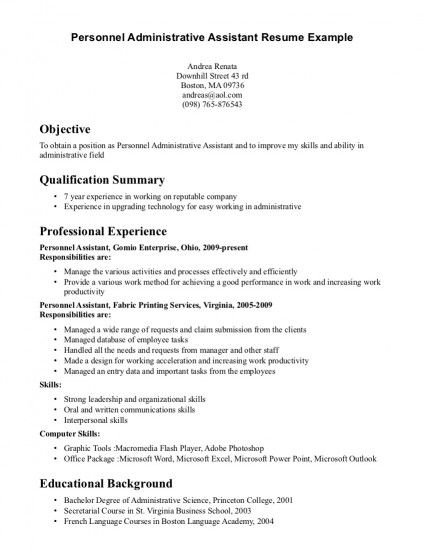 Personnel Administrative Assistant Resume Example | My Future Life ...