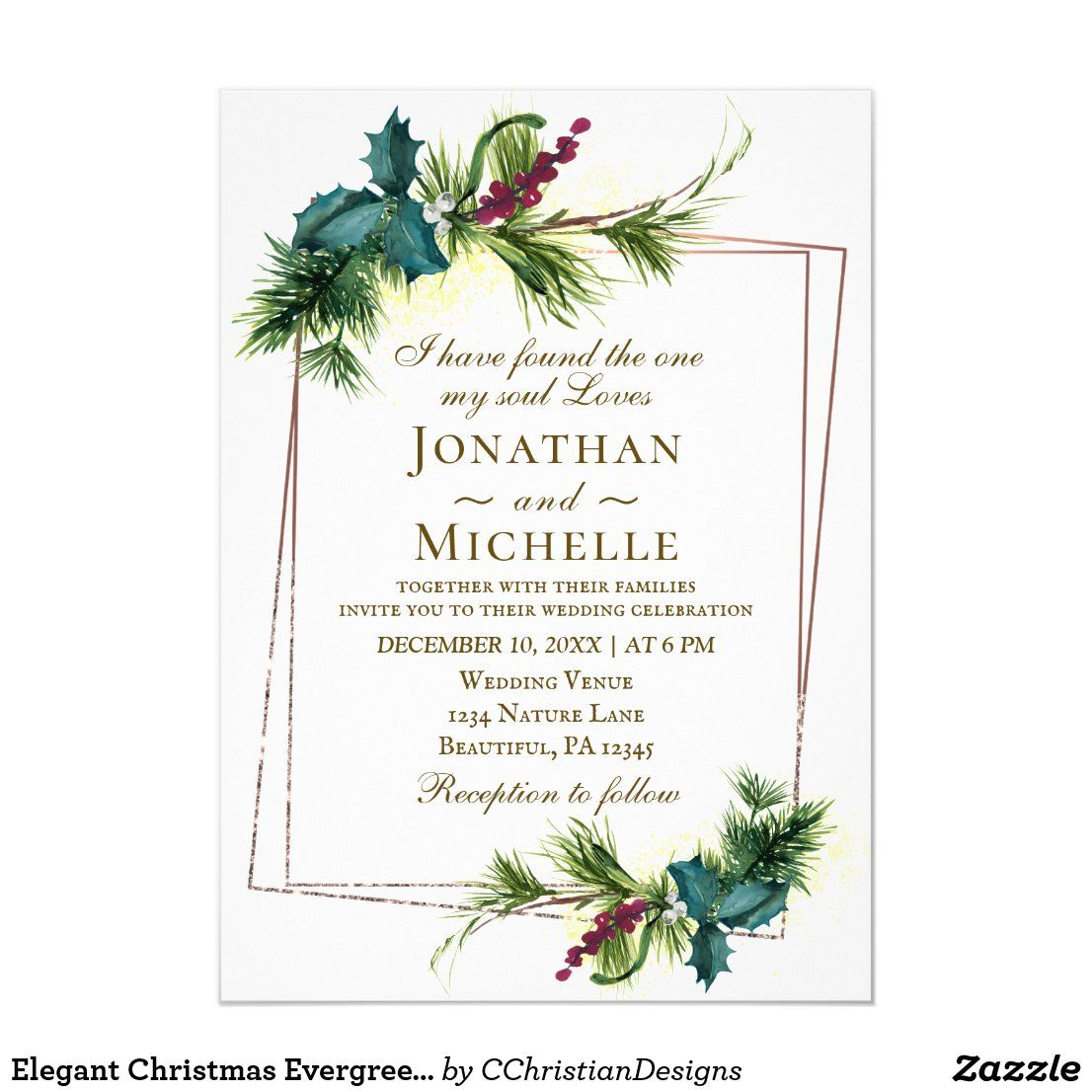 Elegant Christmas Evergreen Holly Bible Wedding Invitation