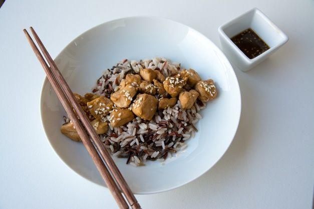 RECIPAY.COM - Sauté de poulet sauce au café, soja et sésame, riz sauvage