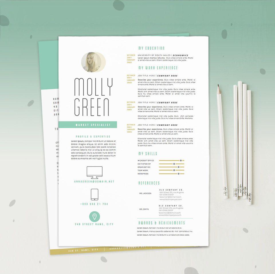 resume cv template cover letter design for word by oddbitsstudio - Simple Resume Cover Letter Template