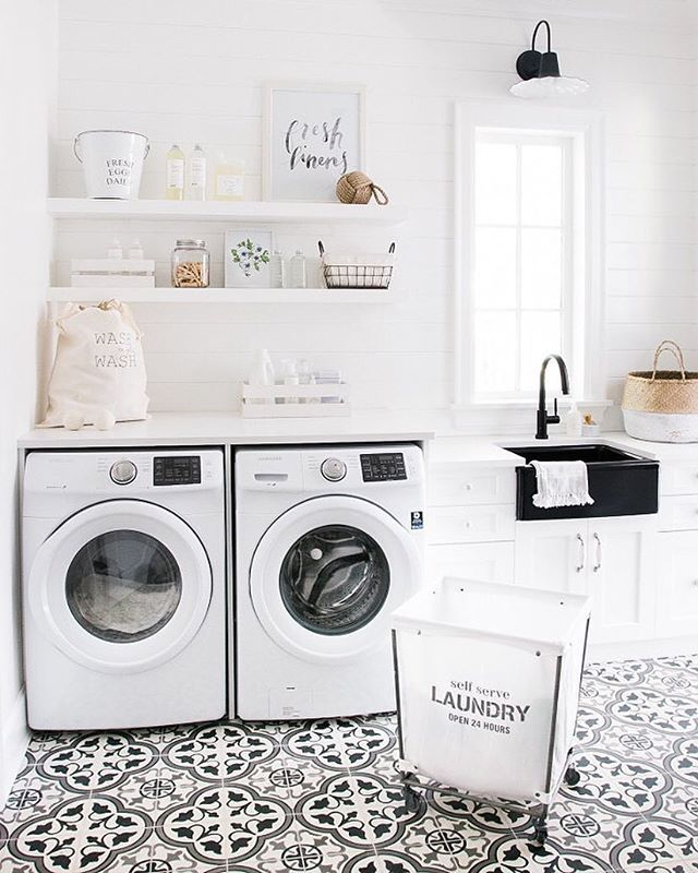 Beautiful White Laundry Room With Cement Tile Floors
