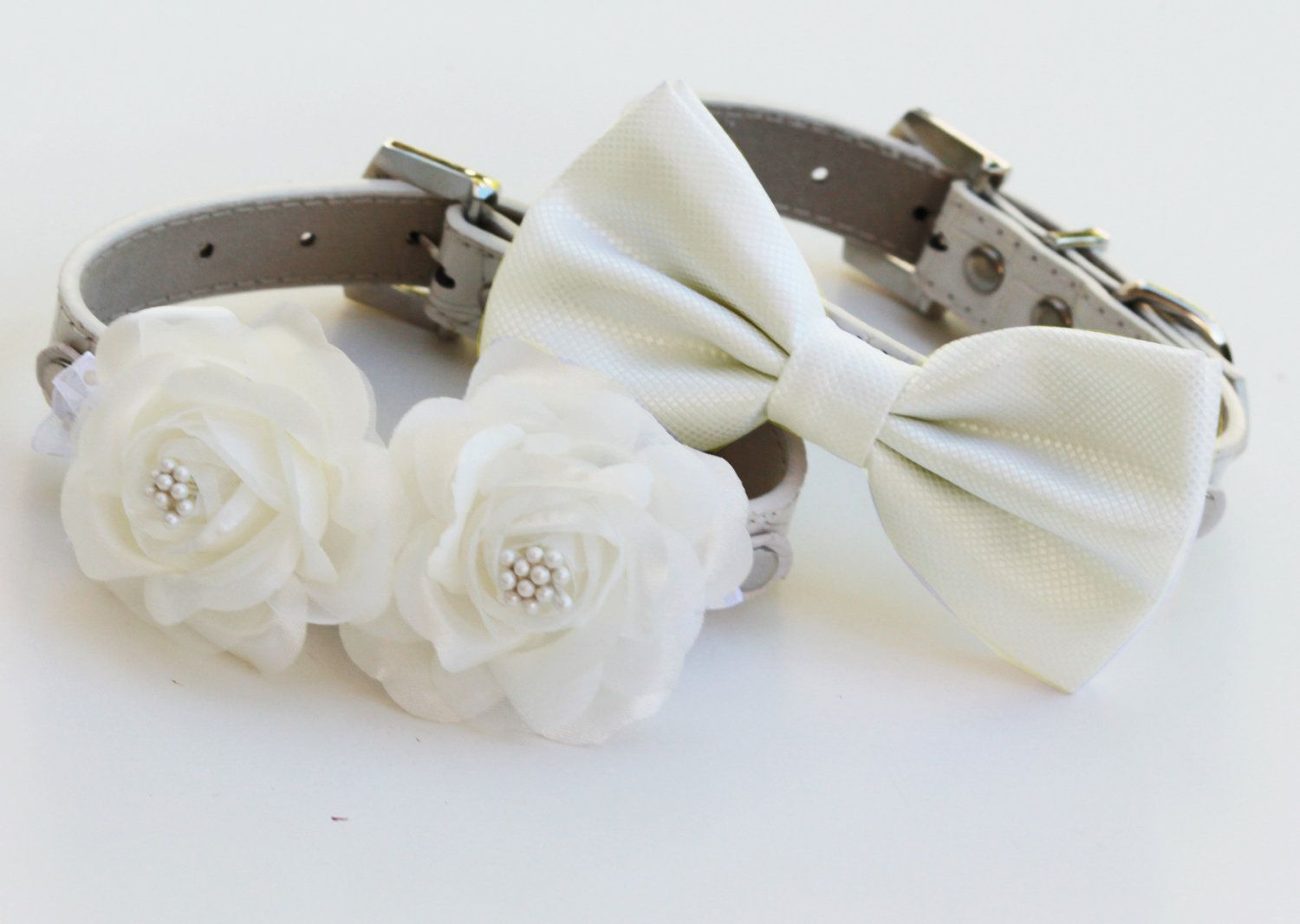 White Wedding Dog Collars Bow Tie And Fl Collar High Quality Accessory Two 64 99 Via Etsy