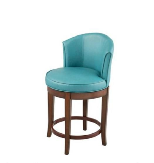 Excellent Casual Modern Teal Blue Faux Leather Swivel Counter Stool Ibusinesslaw Wood Chair Design Ideas Ibusinesslaworg