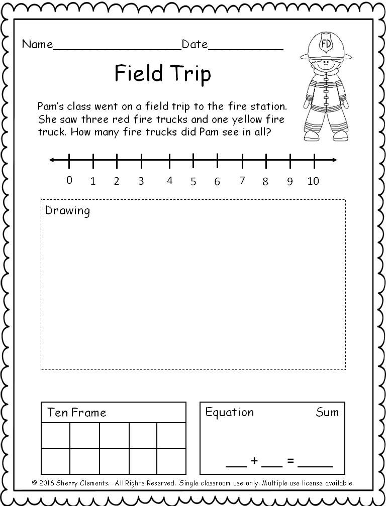 FREEBIE! (5 pages) Addition Word Problem (number line, drawing, ten ...