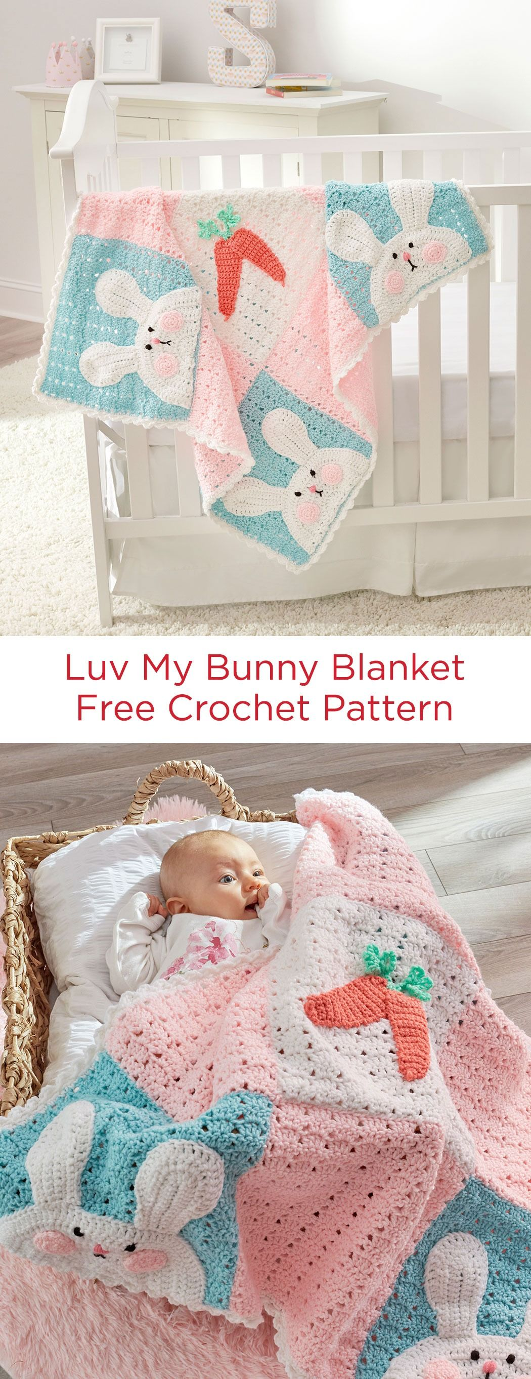 Luv My Bunny Blanket Free Crochet Pattern in Red Heart Yarns -- Nine ...