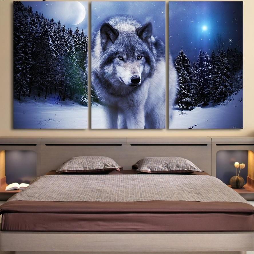 Wolves Snow Forest Canvas Wall Art Picture Print Decoration 5 Sizes Choose