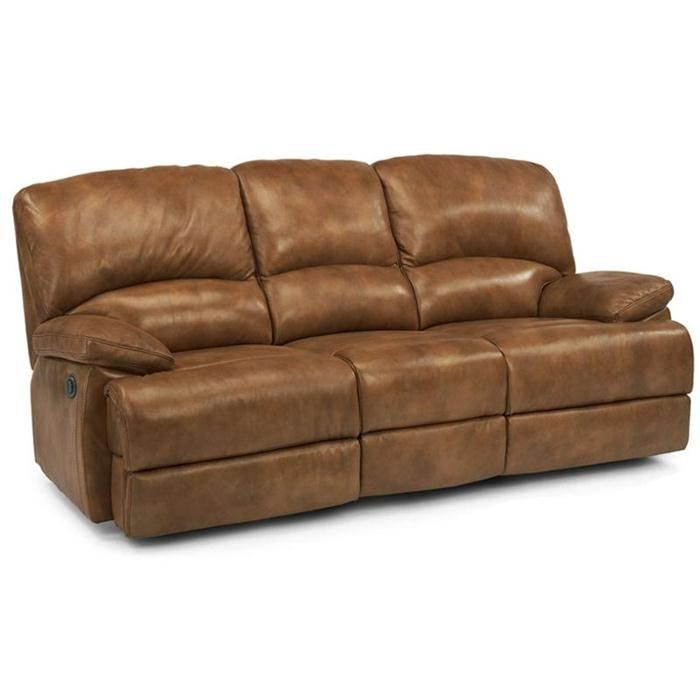 Best Flexsteel Contemporary Brown Leather Power Reclining Sofa 400 x 300