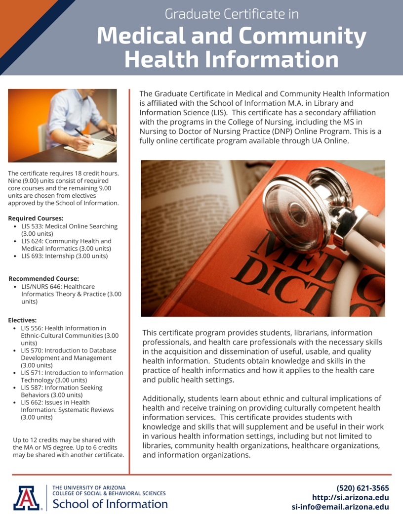 Graduate Certificate In Medical And Community Health Information