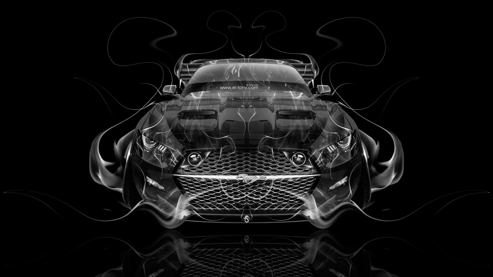 Ford Mustang Muscle Back Fire Abstract Car 2014 Art HD Wallpapers Design By Tony Kokhan [www.el Tony.com]  | El Tony.com | Pinterest | Ford Mustang, ...