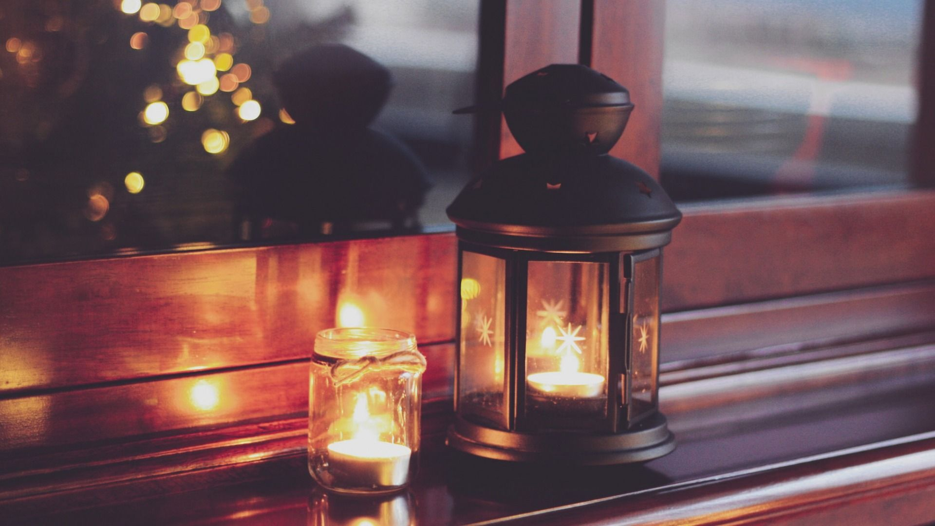 Download Wallpaper lights, Christmas, home, candles