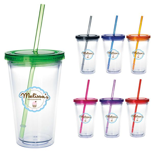 New Clear Tumbler with Colored Lid 18 oz adds a touch of flare