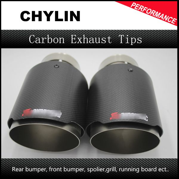 Free Shipping 2pcs 63mm Inlet 101mm Outlet Stainless Steel Akrapovic Carbon Fiber Exhaust Tip For Vw Audi Benz Bmw Porsche Carbon Fiber Audi Benz