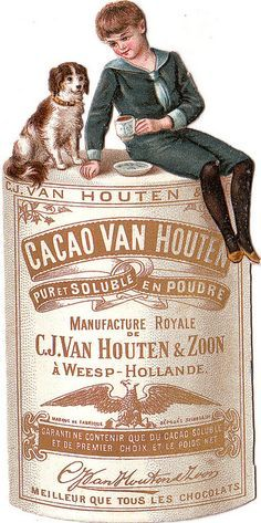 "Victorian boy with dog ""Cacao Van Houten' trade card"