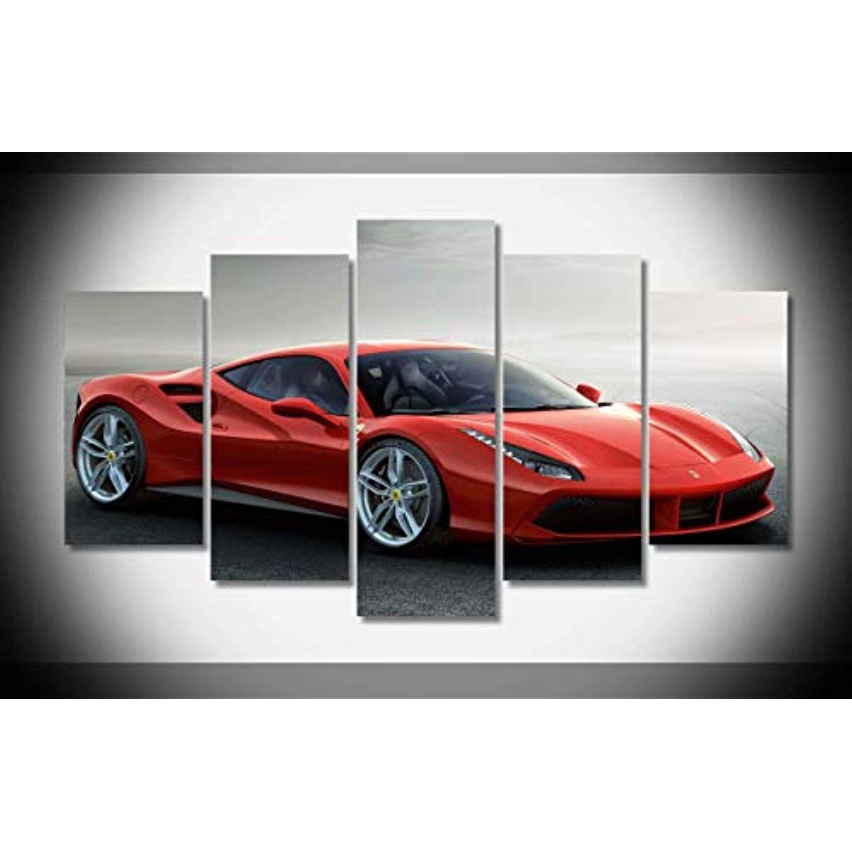 Canvas Deco 5pcs Ken 029 Ferrari 488 Red Super Car Racing Car Canvas Print Wall Art Work For Home Decorations Wall Decor Cuadros Con Vinilos Vinilos Cuadros