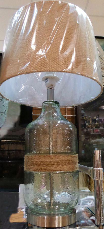 Купить или заказать Лампа 'Бутылочка' в интернет-магазине на Ярмарке Мастеров. Оригинальная настольная лампа,выполненная в виде бутылки,обтянутой грубой бечевкой идеально подойдет для любителей креативных решений в интерьере(лофт) Все предметы освещения можно посмотреть здесь www.livemaster.ru/makeyourhouse?