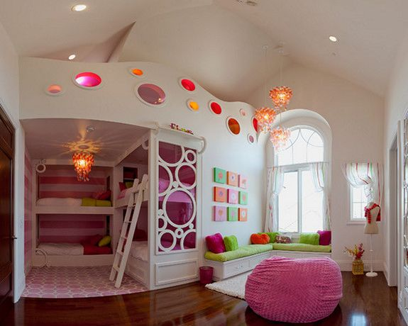 Glaring Pendant Lights in Girls Room Decor Pink Bean Bag Sofa Sectional  Green Padded Bench Wood Floor Cozy Bunk Bed