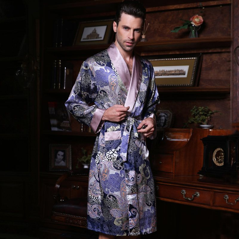 2017 New Male Silk Satin Long-Sleeve Kimono Sleepwear 100% Silk High ...