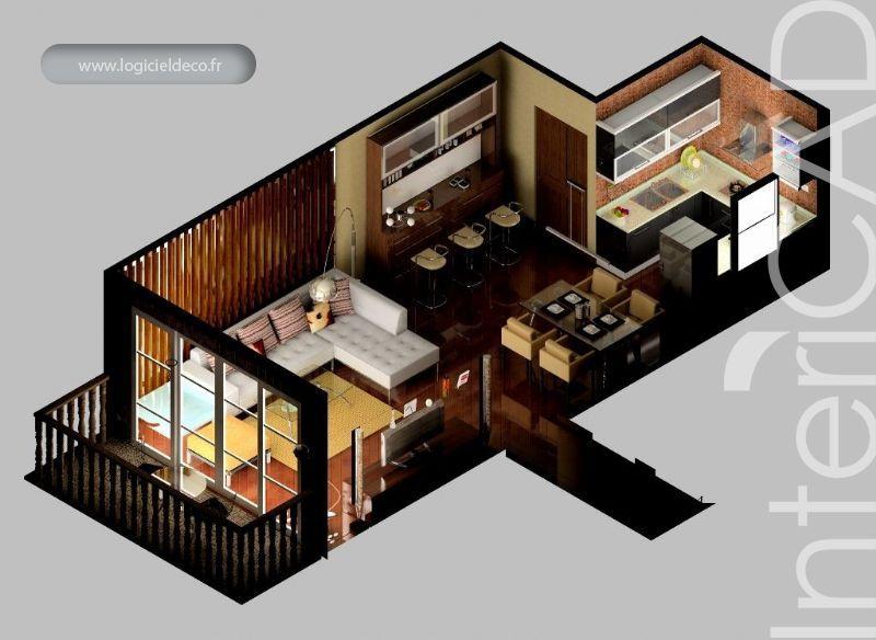 Plan 3D D'Un Salon V1 Réalisé Avec Intericad. Logiciel 3D: Www