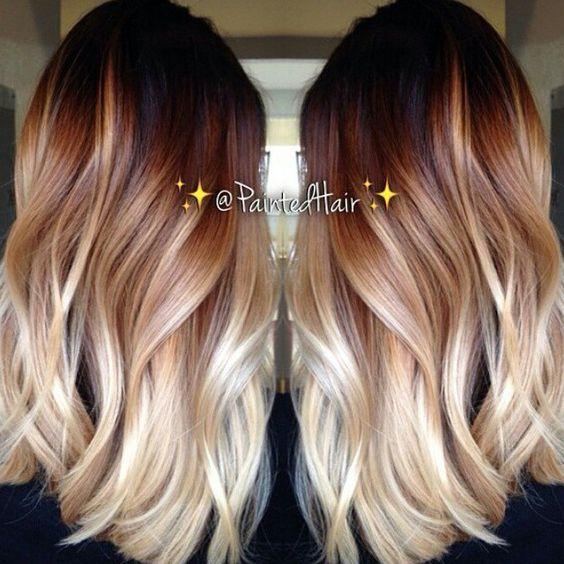 Red Brown Blonde Balayage Hairstyle Mb Hair Pinterest Hair