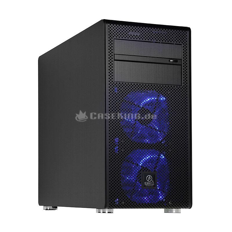 Lian Li PC-V600FB Midi-Tower in schwarz. Die grundlegende Konstruktion weist diverse Parallelen zum PC-V354 auf. Beide sind auf Micro-ATX-Mainboards oder kleinere Platinen (Mini-ITX) beschränkt, um kompakte Außenmaße zu ermöglichen. Im Gegensatz zum V354 ist der V600F jedoch höher und schmaler gebaut. Das Design entlehnt der PC-V600F damit nicht den Cubes sondern dem PC-V1020 Tower.