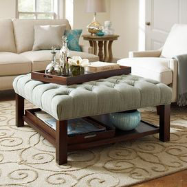 A Deep Tufted Cushion Upholstered In A Soft Sunwashed
