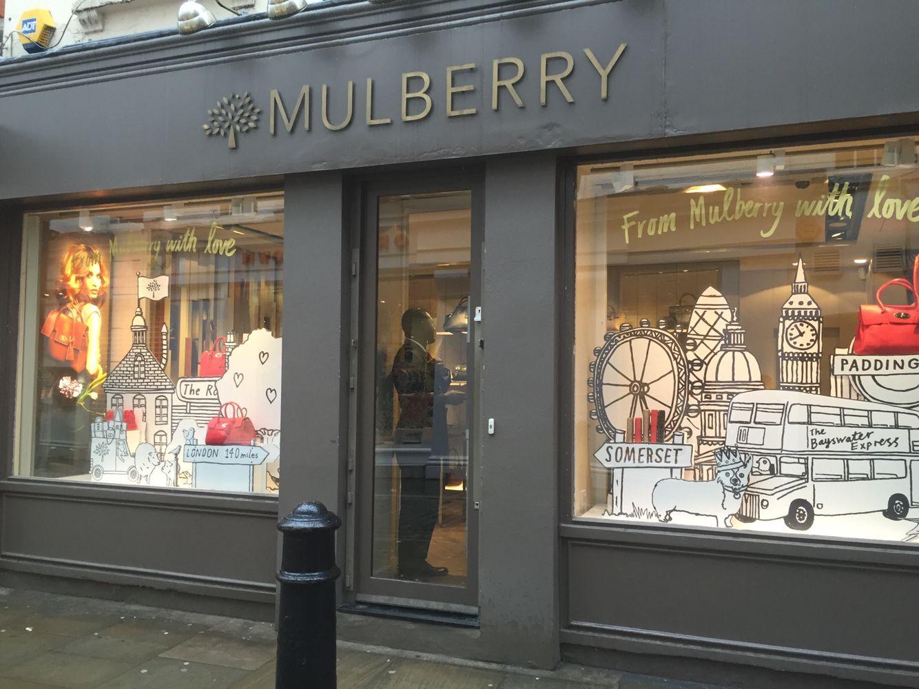 8423494b702 The mulberry store front in Covent Garden tells a story of a traveling  woman from London