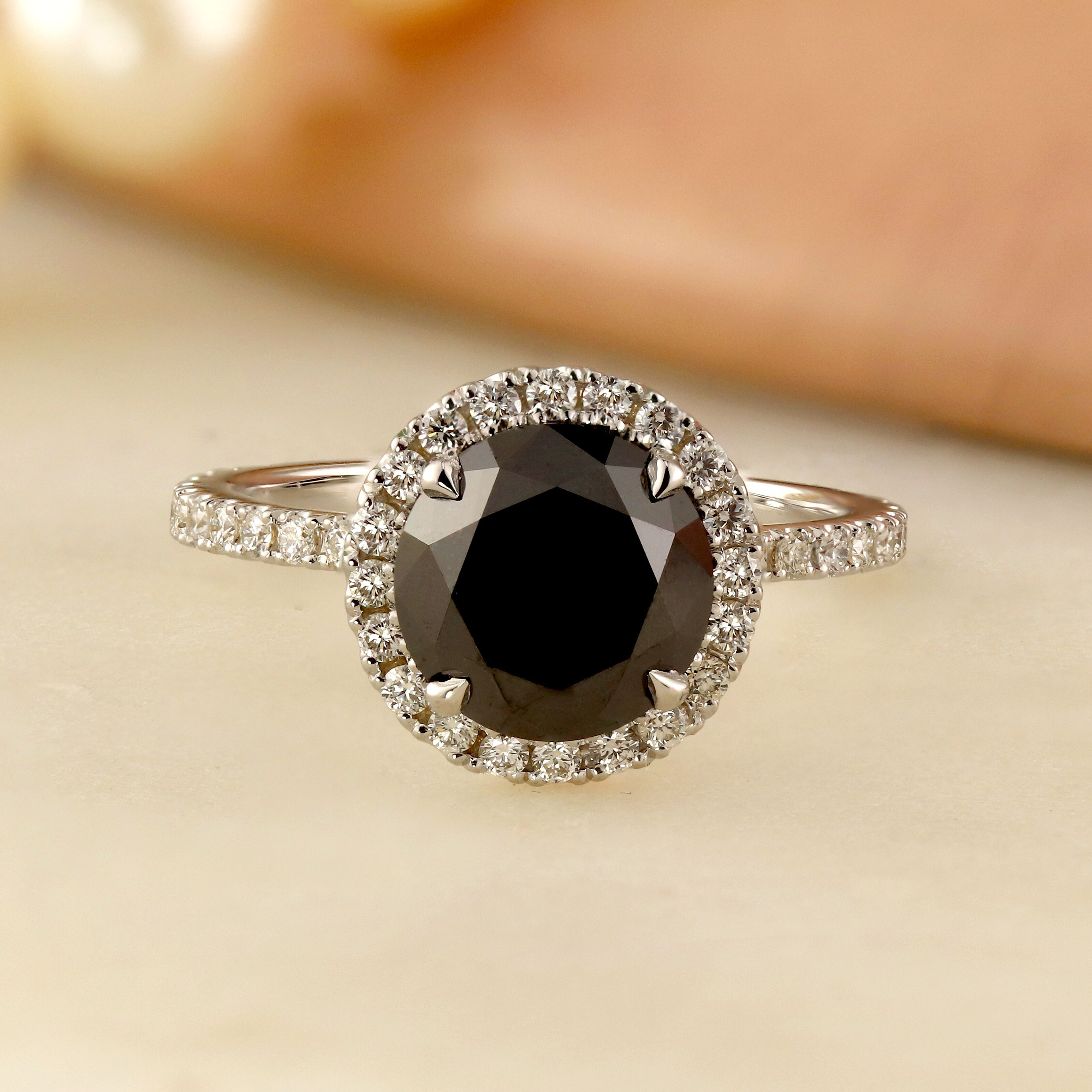 Skylar Halo Black Diamond Engagement Ring In 14k White Gold With 1 00 Carat Round Diamond Black Diamond Ring Engagement Black Diamond Halo Ring Engagement Rings Sapphire