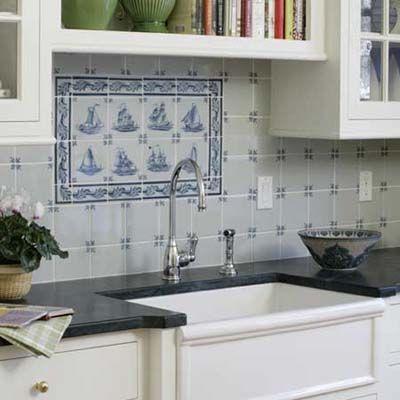 Elegant Old Kitchen Gets More Efficient Kitchen Tiles Blue