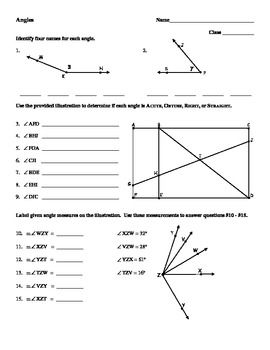 Angles Identifying Relationships Worksheet With Images