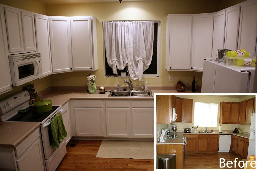 Painted Oak Kitchen Cabinets Before And After Plywood Vintage Plain