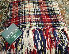RALPH LAUREN PLAID CHENILLE THROW BLANKET 54X72''RED BLUE CREAM COZY NEW