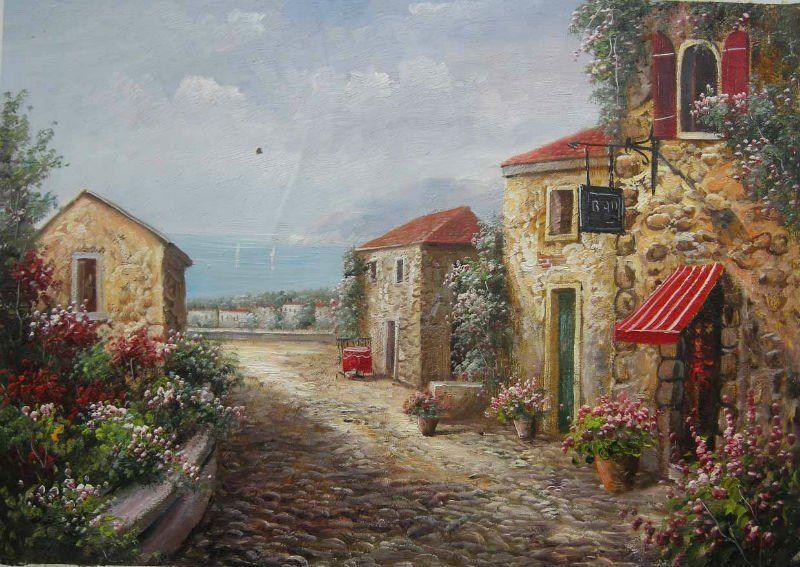 Campo de piedra de la casa de pintura al leo pintura y - Paisajes de casas de campo ...
