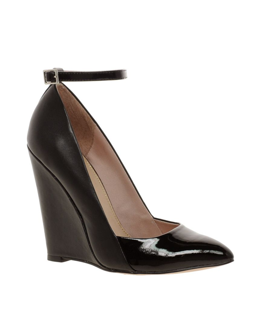 women s black kg cristal pointed wedge ankle strap shoes sexy rh pinterest com