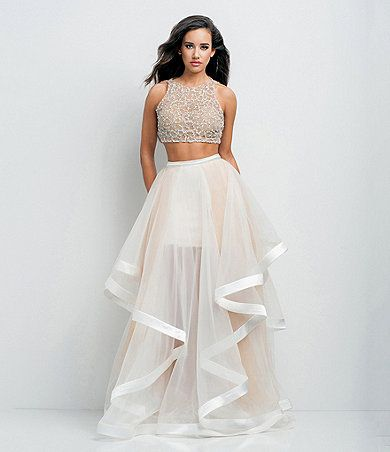 Glamour by Terani Couture High Neck Beaded Bodice Crop-Top Two-Piece ...