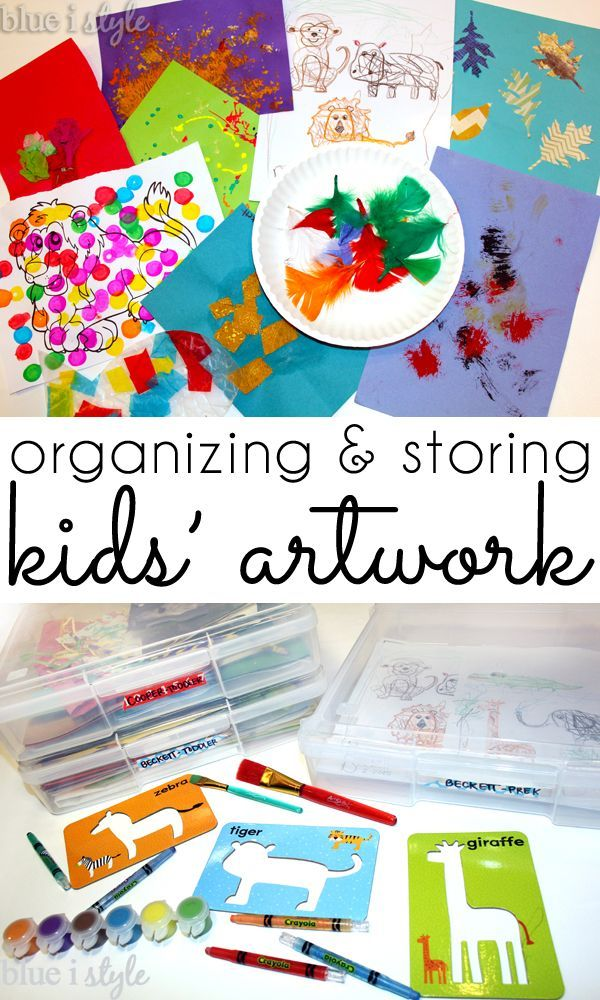 Kids' artwork piling up? Organize and store it in archival safe, stacking containers.