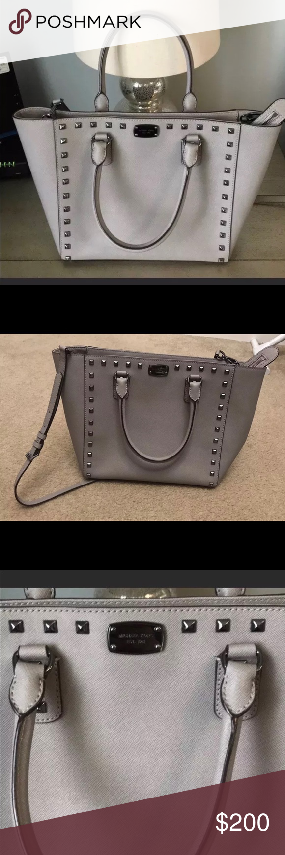 fe298c8a06d2 MICHAEL KORS Selma Large Studded Gray Purse MICHAEL KORS Selma Large Studded  Gray Leather Satchel Handbag