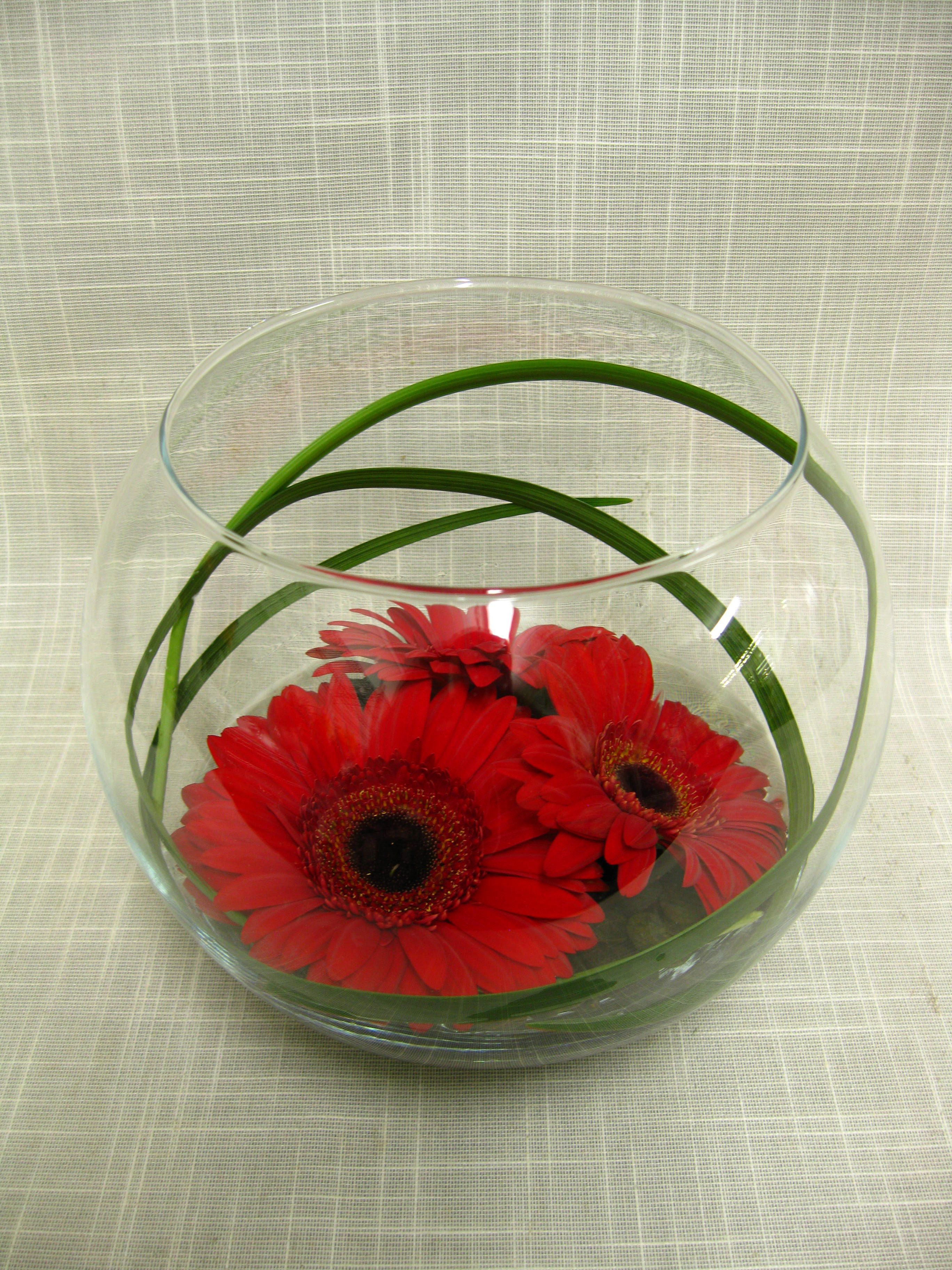 Red gerbera daisies inside a clear glass bowl lined with