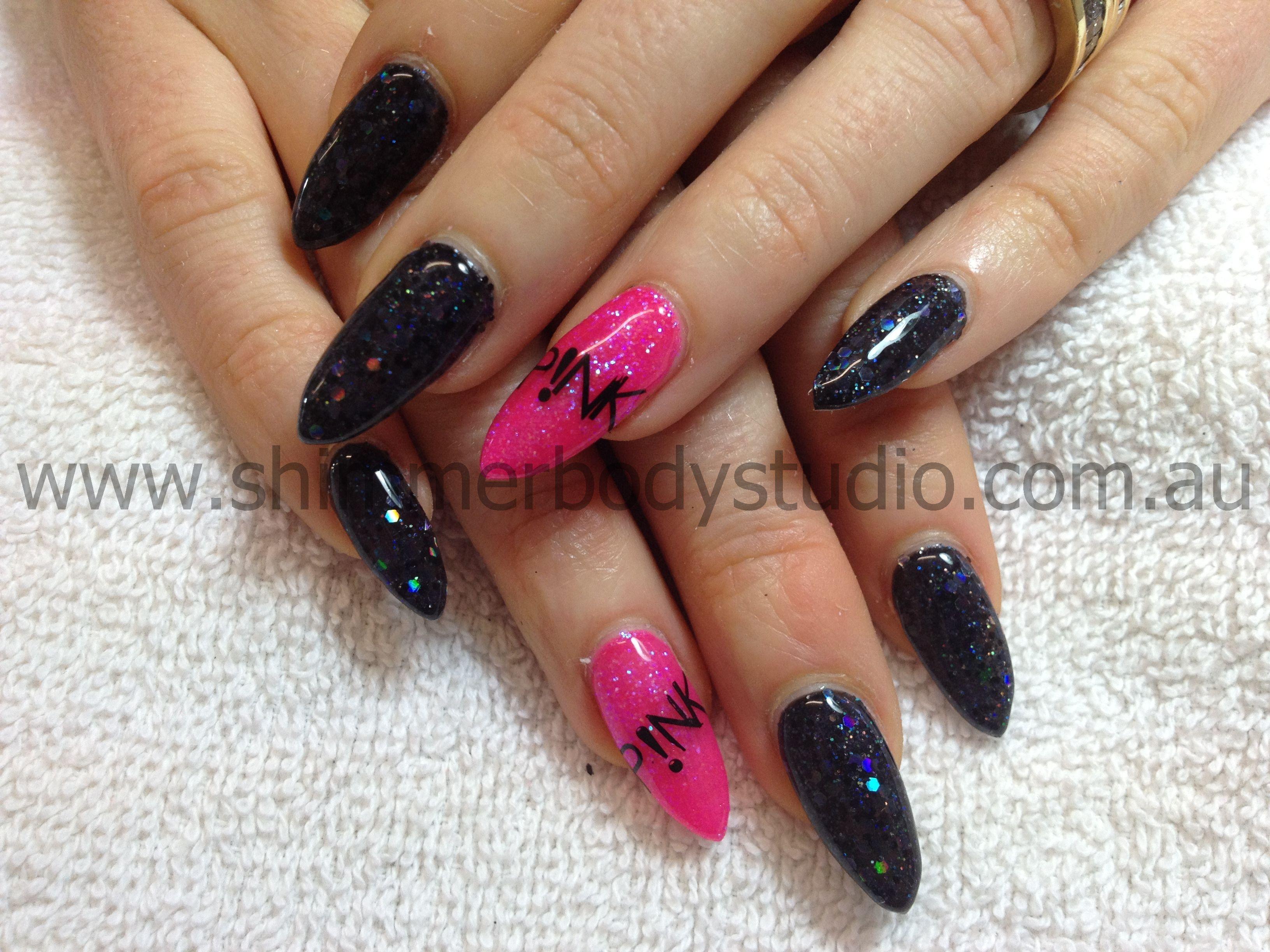 Gel nails, stilletto nails, glitter nails, black and pink nails ...