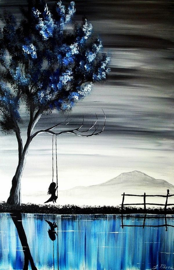 Blue Tree Swing Water Reflection Painting Easy Canvas Ideas For