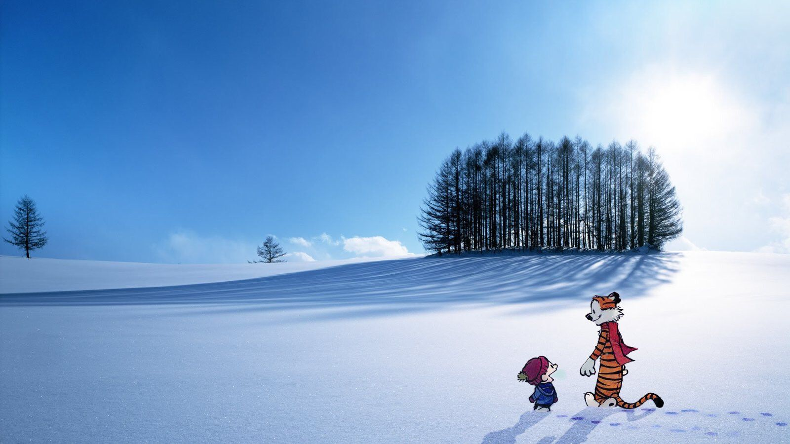 Calvin And Hobbes On Scenery Wallpaper Snow Wallpaper Hd