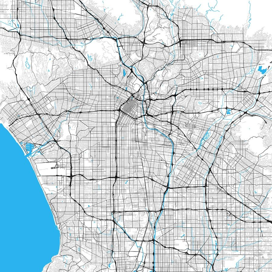 Los Angeles Rich Detailed Vector Map Hebstreits Sketches Map Vector Map Monochrome