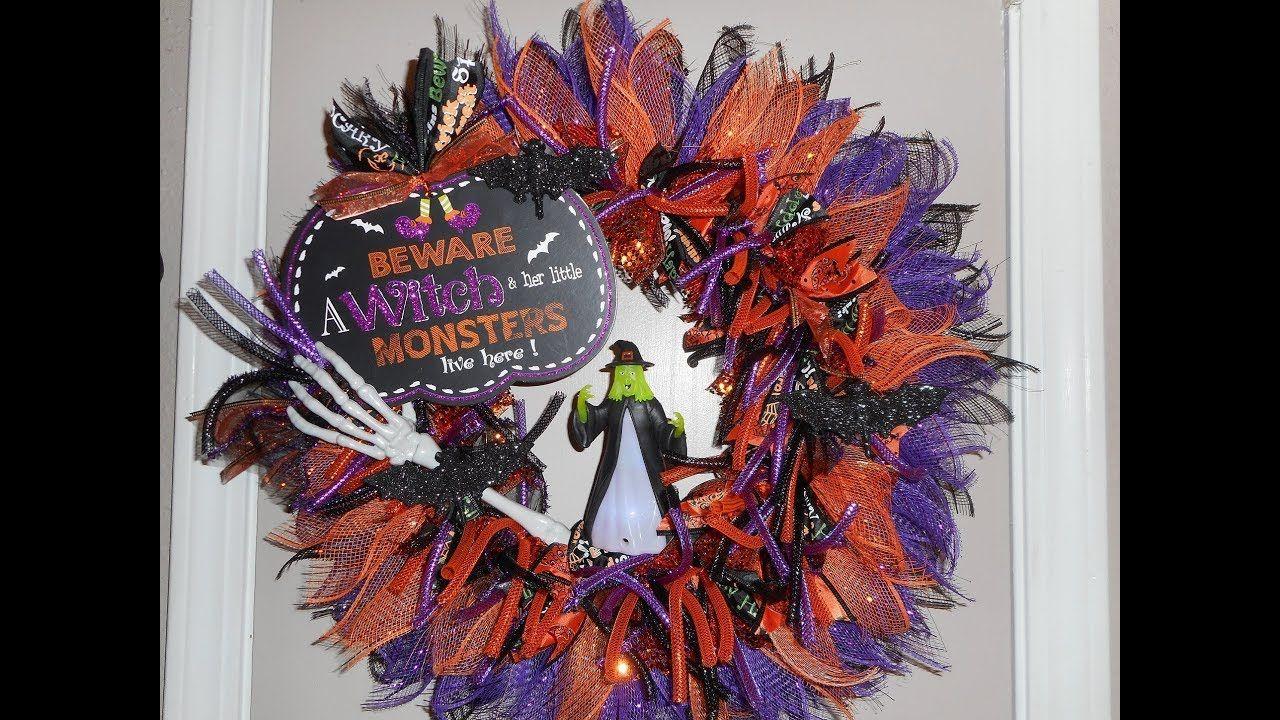 Dollar Tree DIY Halloween Wreath YouTube Diy halloween