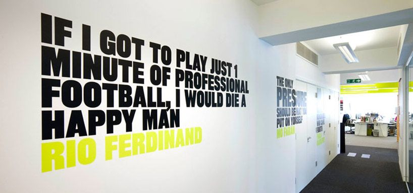 Nombrar damnificados Ópera  NIKE UK headquarters re-design by rosie lee   Office wall graphics ...