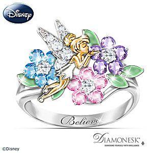 """Disney Tinker Bell """"Garden Of Magic"""" Diamonesk Ring"""