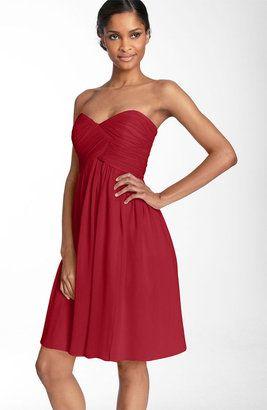 In new blush: Donna Morgan Strapless Silk Chiffon Dress | Wedding ...