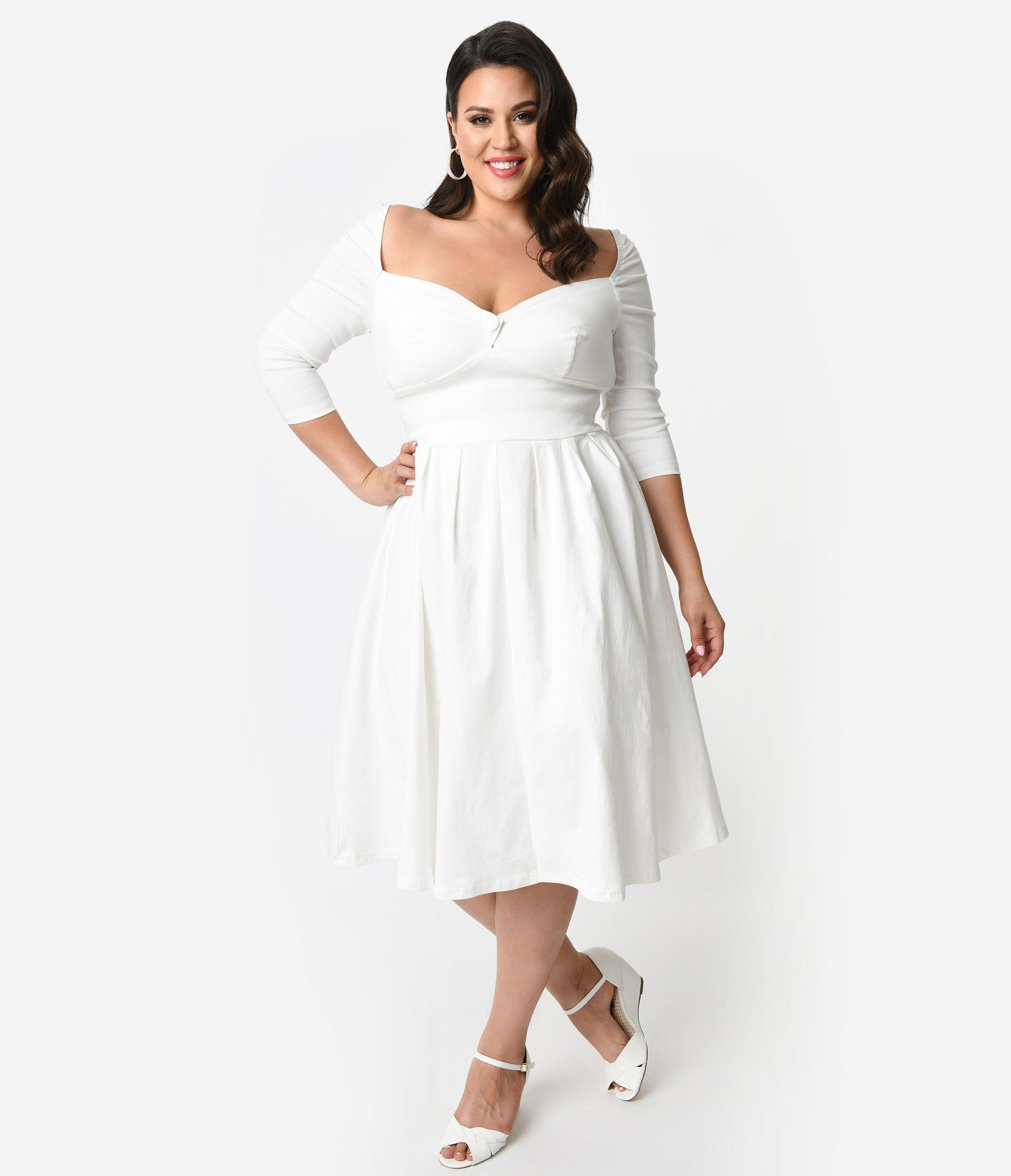 9171357f755f Plus Size 1950s Style Ivory Bengaline Sweetheart Lamar Swing Dress ...