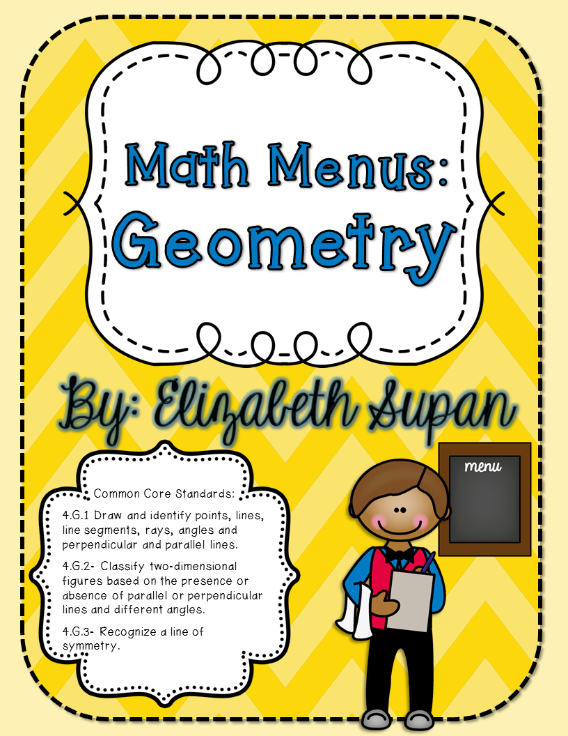 Math Menus Geometry Fourthgradefriends Pinterest Math