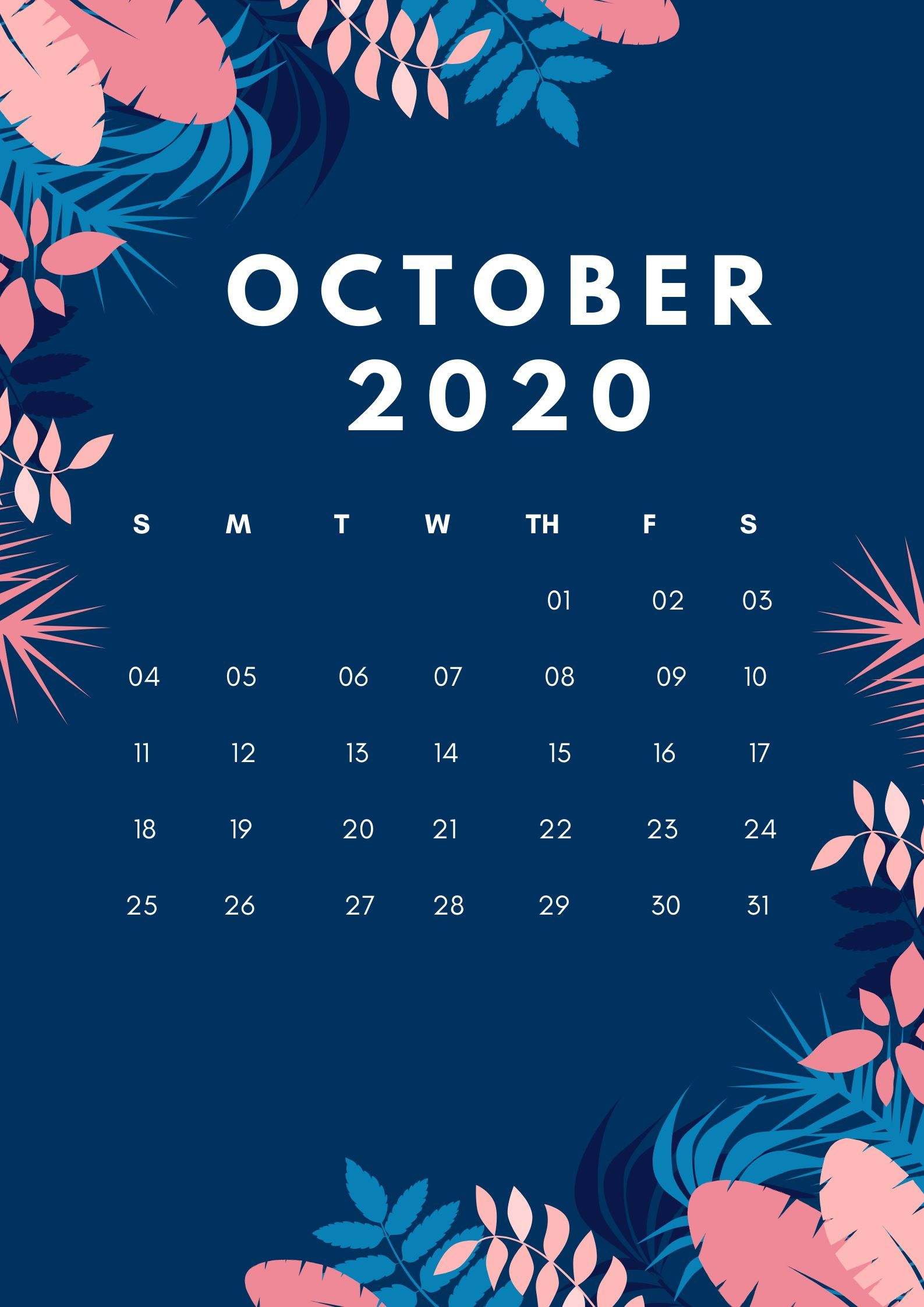 2020 Floral Printable Monthly Calendar Download
