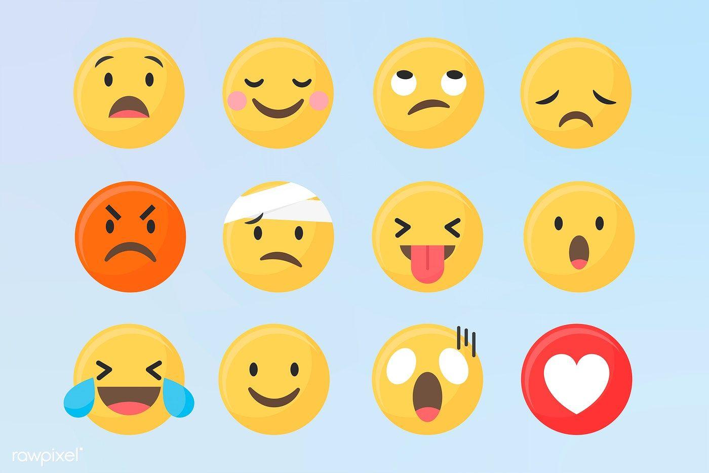 Social Media Emoticons Vector Set Free Image By Rawpixel Com Aum Minty Vector Free Emoji Set Emoticon